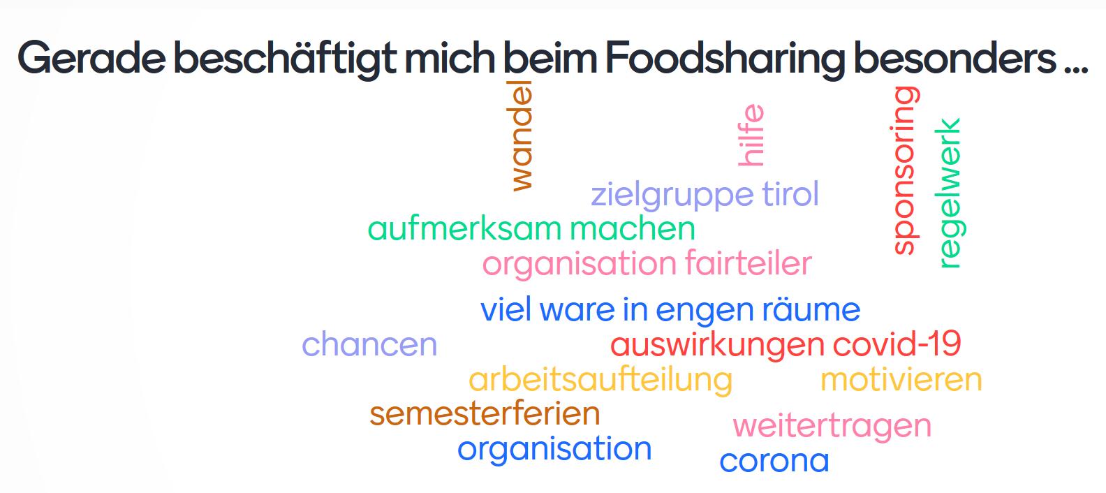 Wordcloud mit menti.com erstellt zum Thema Foodsharing